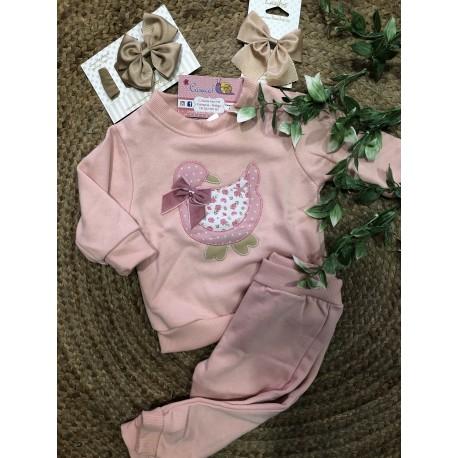 Chandal bebe patito rosa